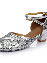 Women's Kids' Dance Shoes Paillette Heels Performance Sequin Paillettes Low Heel Silver Customizable