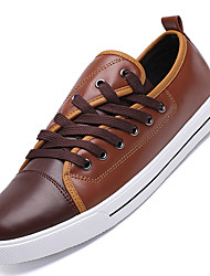 Men's Sneakers Comfort Leatherette Dress / Casual Flat Heel Lace-up Black / White / Black and White Others