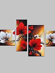 céu flores pintadas à mão vermelho do sumário da parede paisagem pintura a óleo decoração na lona 4pcs / set sem moldura