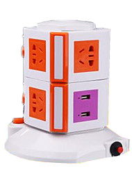 Orange (2 Layer 2Usb) Vertical Multifunction Smart Socket