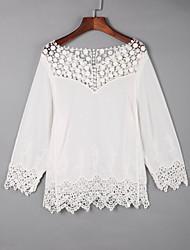 Damen Solide Niedlich Lässig/Alltäglich T-shirt,Rundhalsausschnitt Herbst Langarm Weiß Baumwolle Dünn
