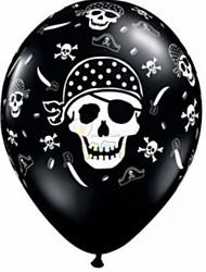 100pcs 12 '' verdicken für Geburtstagsparty Dekor Piratendrucklatexballons Helium Person Schädelkopf Halloween Ball
