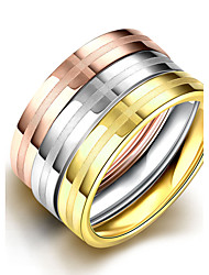 Classic Simple 3 Colors Multilayer 316L Stainless Steel Mide Ring Set 18K Rose White Gold Plated Rings For Women Party Jewelry