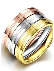 Anéis Sem Pedra Casual Jóias Aço Feminino Anel 1 Conjunto,6 7 8 9 Multicolorido