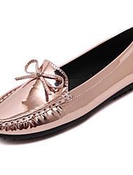 Damen-Flache Schuhe-Lässig-Kunstleder-Flacher AbsatzSchwarz Silber Champagner