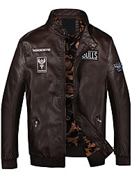 Мужской Полиуретановые Куртка На каждый день / Для занятий спортом,Однотонный,Длинный рукав,Черный / Синий / Коричневый