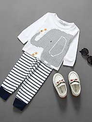 KIMOCAT  Boy's Casual/Daily Striped Clothing SetCotton Spring / Fall White-tz792