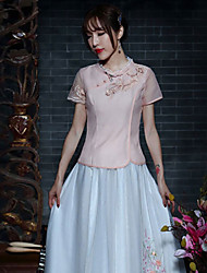Our Story Going out Chinoiserie Summer T-shirtEmbroidered Round Neck Short Sleeve Pink Polyester Medium