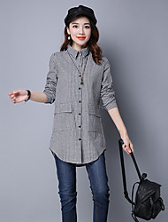 Women's Going out Street chic Fall ShirtCheck Shirt Collar Long Sleeve White / Black Polyester Medium