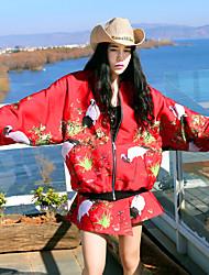 Damen Stickerei Chinoiserie Ausgehen Set Rock,Ständer Frühling Langarm Rot Polyester Mittel
