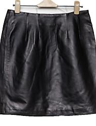 Women's Leather Skirt Solid Black SkirtsVintage / Simple