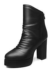 Women's Boots Winter Comfort Leatherette Wedding / Party & Evening / Dress Chunky Heel Others Black / Red Others