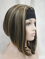 New Fashion  Chestnut Brown with Ginger  Highlights 3/4 Wig With Headband Women's Short Straight Synthetic Half Wig