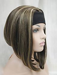 nouveau brun châtaigne de mode avec le gingembre souligne 3/4 perruque courte ligne droite avec la moitié perruque synthétique de bandeau