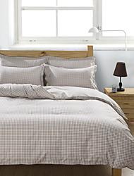 bedtoppings couette couverture couette couette 4pcs définir la taille de la reine feuille plate chèque taie motif imprime microfibre