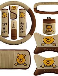 Winnie The Pooh Car Headrest Steering Wheel Safety Belt Sun Visor CD Gear Hand Brake Set Interior Supplies