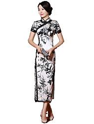 Юбки Классическая и традиционная Лолита Косплей Платья Лолиты Белый / Черный С принтом Короткий рукав Длинный Для Шёлк