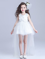 Ball Gown Asymmetrical Flower Girl Dress - Cotton / Satin / Tulle Sleeveless Jewel with Flower(s)