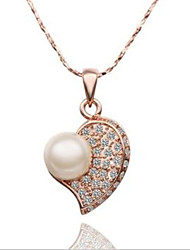Women's Pendant Necklaces Pearl Imitation Pearl Copper Rhinestone Gold Plated Rose Gold Plated Simulated DiamondFashion Adorable