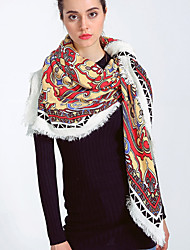 Women Cotton Vintage Casual Square Thin Printing Totem Fringed Scarf Shawl Essential Travel