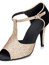 Customizable Women's ballroom Dance Shoes Sparkling Glitter Latin / Salsa Sandals Customized Heel Indoor / Performance