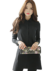 Women's Wild Casual/Daily Solid Mesh Cut Out Stitching Full Cotton Long Black Shirt