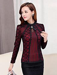 Damen Solide Street Schick Ausgehen T-shirt,Rundhalsausschnitt Herbst Langarm Rot / Beige / Schwarz Baumwolle / Polyester Mittel