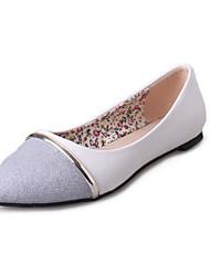 Dames Platte schoenen Comfortabel PU Herfst Causaal Comfortabel Combinatie Platte hak Wit Zwart Zilver Plat