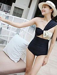 Women's Bow Shoulder Personality Spell Color Piece Swimsuit Spa