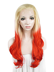 IMSTYLE Long Fashion Natural Wave Red Synthetic Wigs Lace Front With Blonde Root