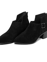 Черный-Женский-Для прогулок-Замша / Кожа-На толстом каблуке-Ботинки-Ботинки