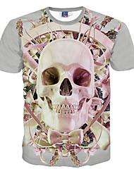Masculino Camiseta Poliéster Estampado Manga Curta Casual / Formal / Esporte-Rosa