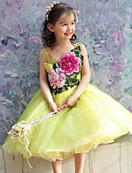 Ball Gown Tea-length Flower Girl Dress - Tulle Sleeveless Scoop with Beading / Embroidery / Flower(s)