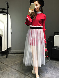 Damen Solide Anspruchsvoll Ausgehen Hemd Rock,Ständer Frühling Langarm Rot / Schwarz Kunstseide Undurchsichtig