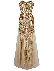 Women's Formal / Party Sexy / Vintage / Cute Swing Dress, Strapless Maxi Sleeveless Gold Polyester
