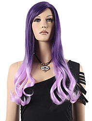 Popular Synthetic Hair Woman's Cosplay Wig Long Wavy Pink Ombre Light Purple Synthetic Wigs
