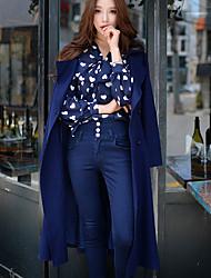 Mulheres Casaco Happy-Hour / Casual / Trabalho Vintage / Moda de Rua / Sofisticado Outono / Inverno,Sólido Azul Poliéster / Elastano