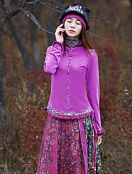 Mulheres Camiseta Happy-Hour Vintage Primavera / Outono,Estampado Cashemere Rosa Algodão / Elastano Gola Redonda Manga Longa Média