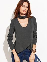 Damen Solide Einfach / Street Schick Lässig/Alltäglich T-shirt,V-Ausschnitt Frühling / Herbst Langarm Grau Polyester Mittel