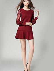 Gaine Robe Femme Décontracté / Quotidien Sophistiqué,Couleur Pleine Col Arrondi Mini Manches Longues Rouge / Noir Polyester AutomneTaille