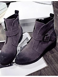 Women's Boots Fall / Winter Snow Boots Suede Outdoor Chunky Heel Buckle Black / Gray Snow Boots