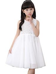 Vestido Chica de-Casual/Diario-Un Color-Algodón-Verano-Rosa / Blanco