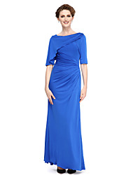 LAN TING BRIDE Sheath / Column Mother of the Bride Dress - Elegant Ankle-length Half Sleeve Jersey with Side Draping