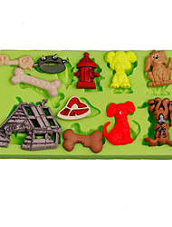 Dog Bones Kennel Cake Decoration Silicone Fondant Mold Sugarcraft Tools Polymer Clay Fimo Chocolate Candy Soap Making