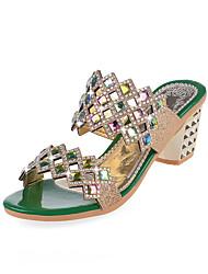Women's Sandals Summer Platform PU Casual Chunky Heel Crystal Black / Green / Gold Others