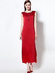 мэри янь& YU женский праздник сложный свободно dresssolid вокруг шеи асимметричные рукавов красный шелк Самме