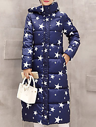 Women's Popular Long Down Coat Simple Plus Size Star Print Long Sleeve Hooded