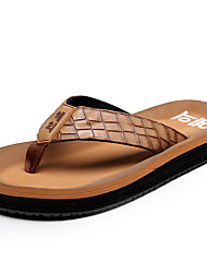 Men's Slippers & Flip-Flops Summer Slingback Leatherette Casual Flat Heel Black Brown Green coffee