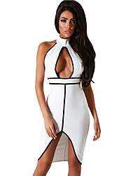 Women's White Halterneck Plunge Dress