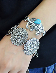 Silver Plated Metal Flower Statement Bracelets